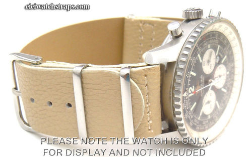NATO Cream Leather Watchstrap For Breitling Navitimer