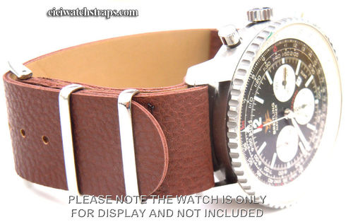 NATO Dark Brown Leather Watchstrap For Breitling Navitimer