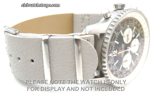 NATO Gray Leather Watchstrap For Breitling Navitimer