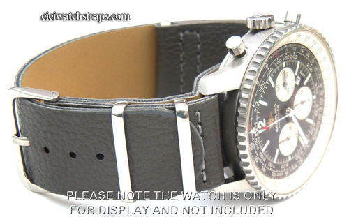 NATO Dark Gray Leather Watchstrap For Breitling Navitimer