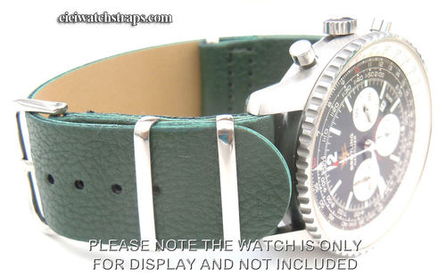 NATO Green Leather Watchstrap For Breitling Navitimer