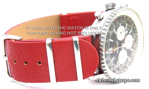 NATO Red Leather Watchstrap For Breitling Navitimer