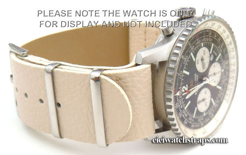 NATO White Leather Watchstrap For Breitling Navitimer