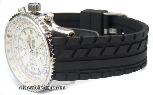 Curved Lugs Tyre Tread Rubber Watchstrap For Breitling Navitimer