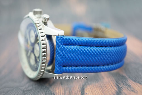 Blue polyurethane Waterproof watch strap For Breitling Navitimer