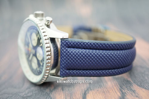 Navy Blue polyurethane Waterproof watch strap For Breitling Navitimer