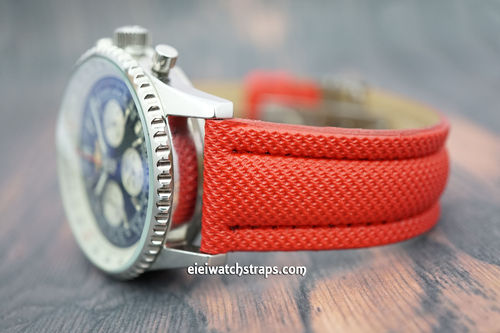 Red polyurethane Waterproof watch strap For Breitling Navitimer