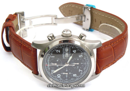 Matt Brown Crocodile Grain Padded Leather Watch Strap For Hamilton Watches
