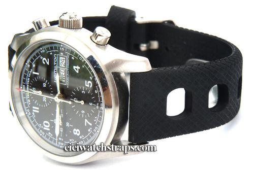 22mm 'Grand Prix' Textured Silicon Rubber Watch Strap For Hamilton Watches