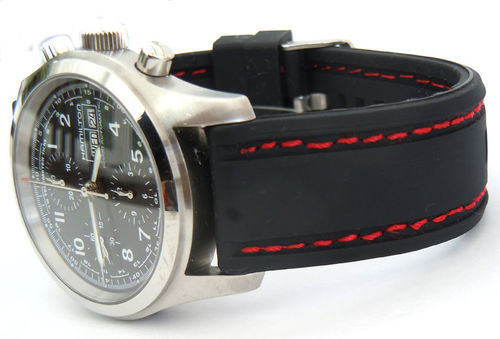 22mm Navy Seal II Silicon Rubber Strap with Stitching For Hamilton Watches