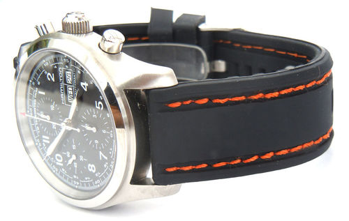 22mm Navy Seal II Silicon Rubber Watch Strap Orange Stitching For Hamilton Watches