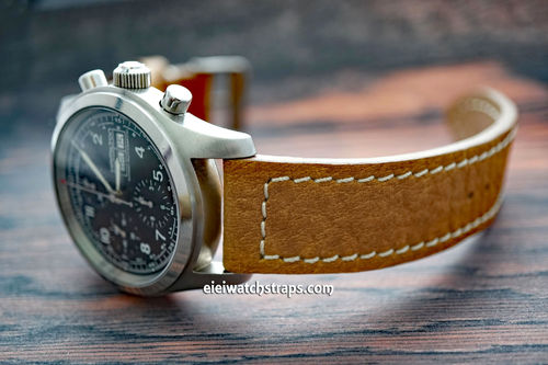 Double Thickness Cut Edge Saddle Brown Leather Watch Strap For Hamilton Watches