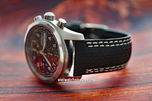 Carbon Fibre 22mm Black Leather White Stitching Watchstrap For Hamilton Watches