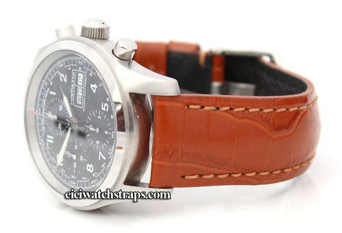 Classic Brown 22mm Crocodile Grain Leather Watchstrap For Hamilton Watches