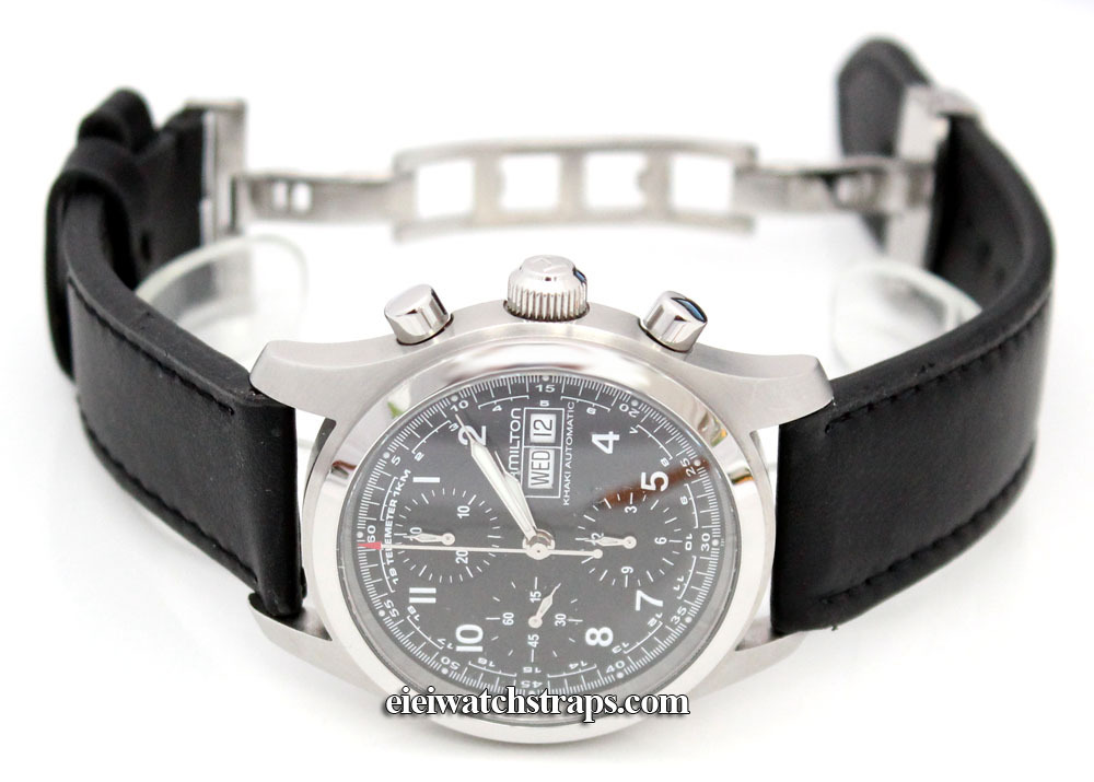 Deep Padded Black Leather Watchstrap On Deployant Clasp