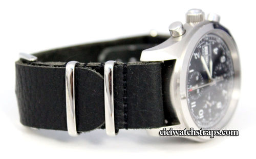 NATO Black Leather Watch Strap For Hamilton watches
