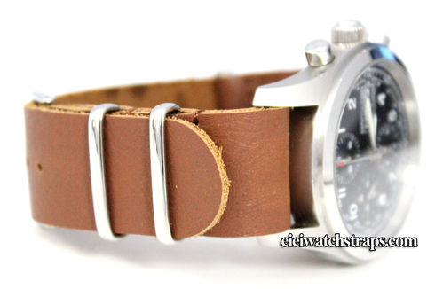 NATO Tan Leather Watchstrap For Breitling Navitimer Hamilton watches