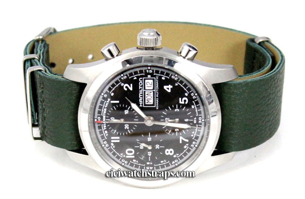 Nato Green Leather Watchstrap For Hamilton Watches