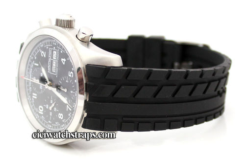 Curved Lugs Tyre Tread Rubber Watch Strap For Hamilton Watches