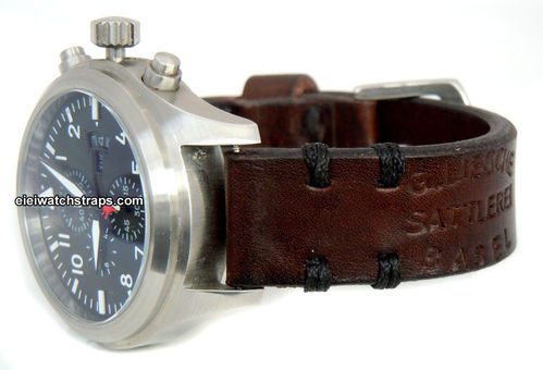Basel Vintage style Ammo leather watchstrap For IWC Pilot's Watch