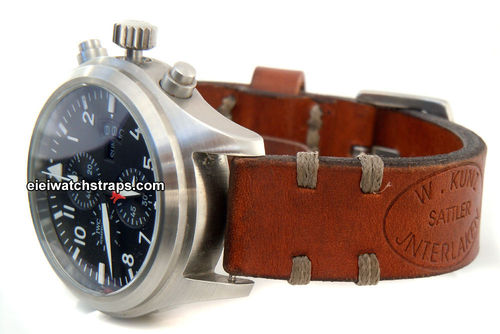 Kunz Handmade Vintage style Ammo leather watchstrap For IWC Pilot's Watch