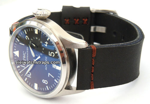 Metta Oiled Black Leather Watchstrap For IWC Pilot's Watch