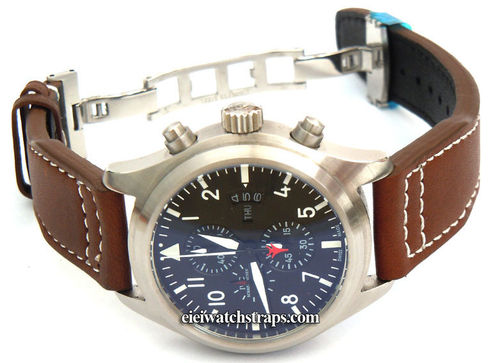 Double Thickness Aviator 22mm Dark Brown Leather Deployant watchstrap For IWC pilot's watches