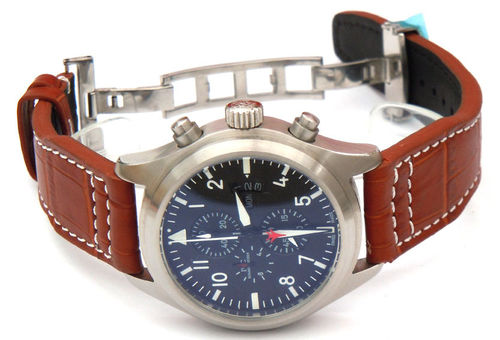 Aviator 22mm Brown Alligator watch strap on Deployment Clasp For IWC pilot's watches