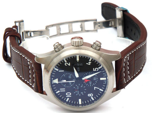 Aviator 22mm Dark Brown Alligator watch strap on Deployment Clasp For IWC pilot's watches