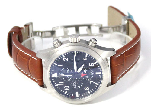 Brown Alligator Grain Padded Leather Watchstrap on Deployment Clasp IWC pilot's watches