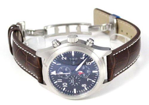 Dark Brown Alligator Grain Padded Leather Watchstrap on Deployment Clasp IWC pilot's watches