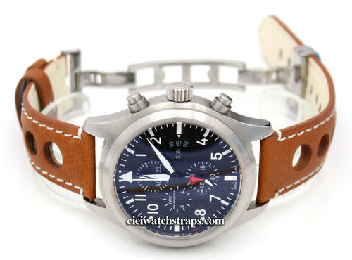Grand Prix Tan Leather Watch strap on Deployment Clasp For IWC pilot's watches
