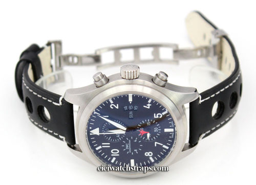 Grand Prix Black Leather Watch strap on Deployment Clasp For IWC pilot's watches