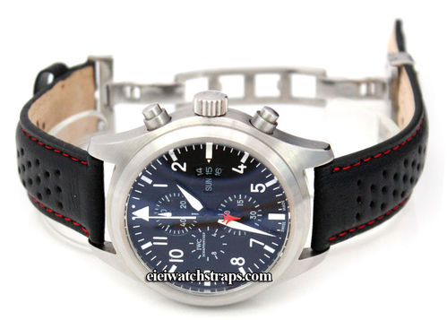 Rally Perforated RED stitched Black Leather Watch strap Deployment Clasp For IWC pilot's watches