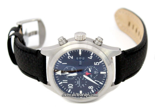 Carbon Fibre 22mm Black Leather Watchstrap For IWC pilot's watches