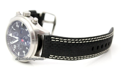Carbon Fibre 22mm Black Leather White Stitching Watchstrap For IWC pilot's watches