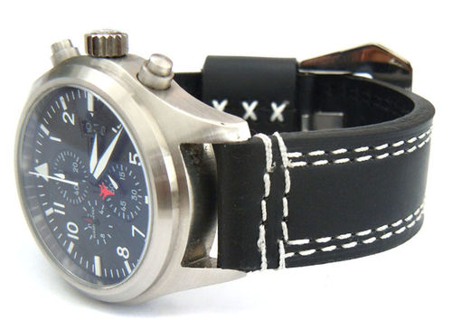 Rayel 22mm Black Leather watchstrap White Stitched For IWC Pilot's Watches