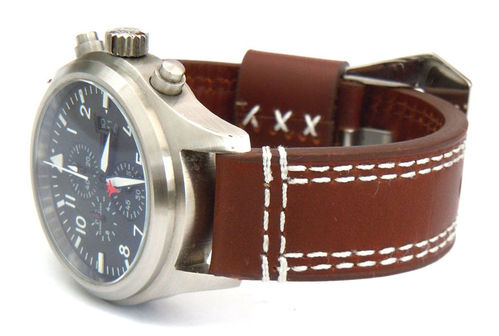 Rayel 22mm Dark brown Leather watchstrap White Stitched For IWC Pilot's Watches