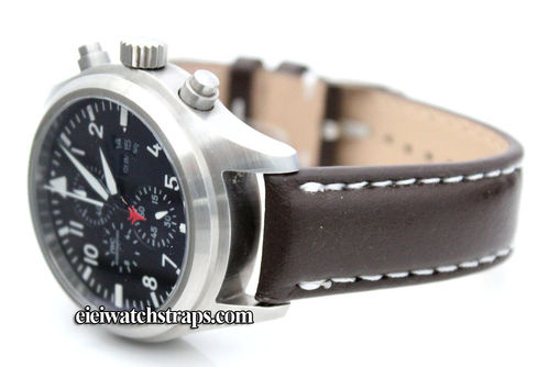Brown Leather Watchstrap White Stitched For IWC pilot's watches