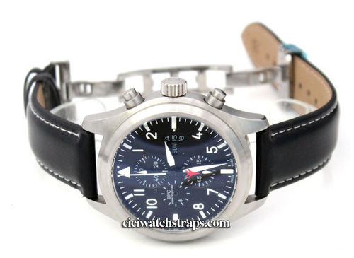 Black Leather Watch strap White Stitching on butterfly deployant clasp For IWC pilot's watches