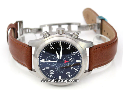 Brown Leather Watch strap on butterfly deployant clasp For IWC pilot's watches