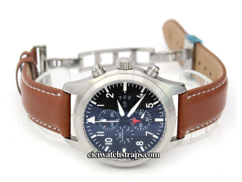 Brown Leather Watch strap White Stitching on butterfly deployant clasp For IWC pilot's watches