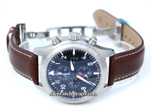 Dark Brown Leather Watchstrap White Stitching Butterfly Deployant Clasp For IWC pilot's watches