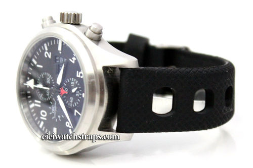 22mm 'Grand Prix' Textured Silicon Rubber Watch Strap For IWC pilot's watches