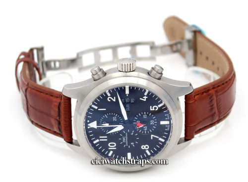 Brown Crocodile Watch strap on butterfly deployant clasp For IWC pilot's watches