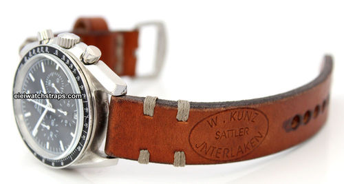 Kunz Handmade Vintage style Ammo leather watchstrap For Omega Speedmaster
