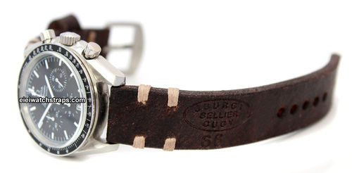 Cuyg Handmade Vintage style Ammo leather watchstrap For  Omega Speedmaster