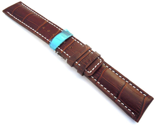 Alligator Grain Padded Dark Brown Leather Watchstrap Deployment Buckle For Omega Speedmaster