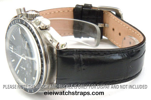 Classic Black Crocodile Leather Watchstrap Omega Speedmaster