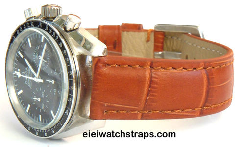 Classic Brown Crocodile Grain Leather Watchstrap Omega Speedmaster